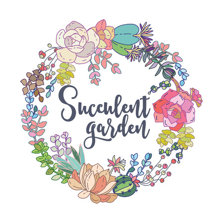 Vector succulents wreath. Vintage round frame with cactus and succulents. Vector Illustration