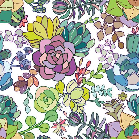 succulent: Succulent seamless pattern background