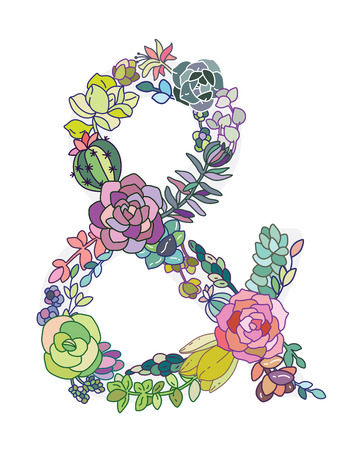 ampersand: Colorful ampersand made of floral elements. Succulent design Illustration