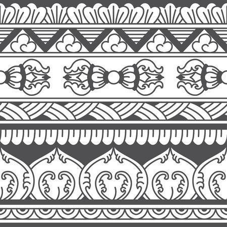 tibet: Monochromatic ethnic seamless background. Vector illustration Illustration