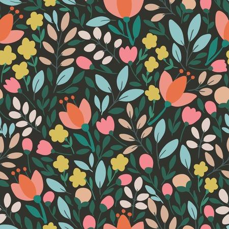 Elegant seamless pattern with flowers, vector illustration Stock Illustratie