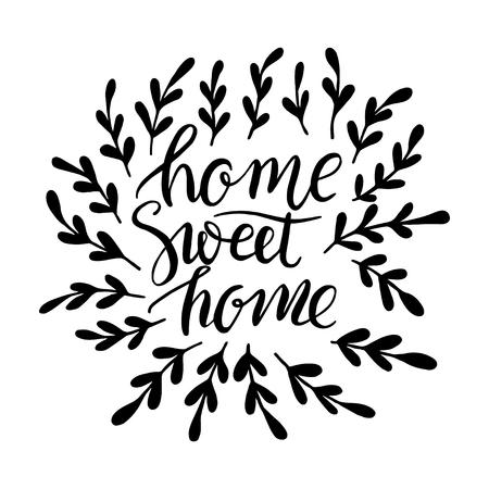 Home Sweet Home Elegant  hand lettering design. Çizim