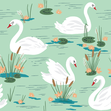 swans: Beautiful seamless pattern with swans on the lake. Vector illustration