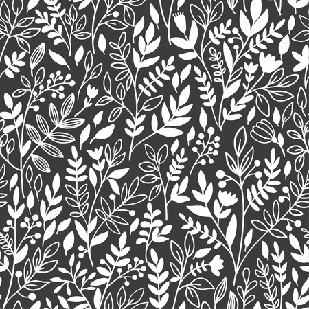 twigs: Seamless floral pattern with twigs. Vector illustration.