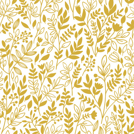 twigs: Seamless floral pattern with golden twigs. Vector illustration. Illustration