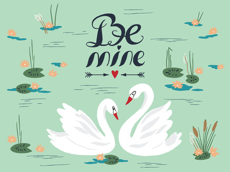 swans: Vector background with beautiful swans on the lake. Vector illustration Illustration