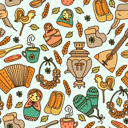 matreshka: Elegant seamless pattern in Russian style. It can be used for desktop wallpaper or frame for a wall hanging or poster,for pattern fills, surface textures, web page backgrounds, textile and more. Illustration