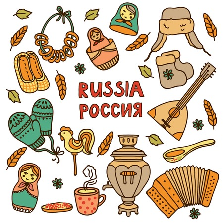 russian: Vector elements in Russian style Illustration