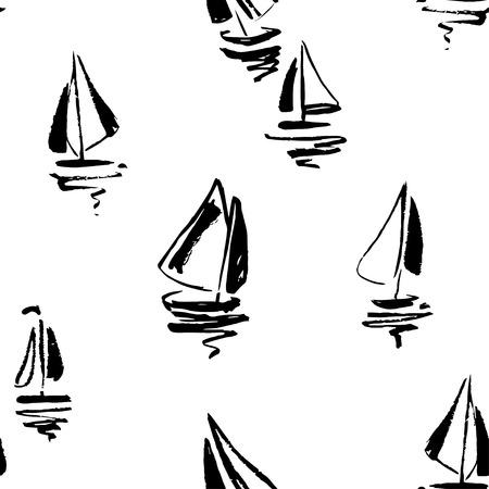 yachts: Hand drawn sailing yachts silhouettes seamless pattern