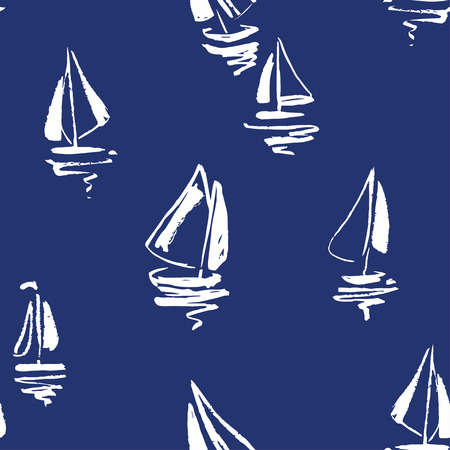 Hand drawn sailing yachts silhouettes seamless pattern