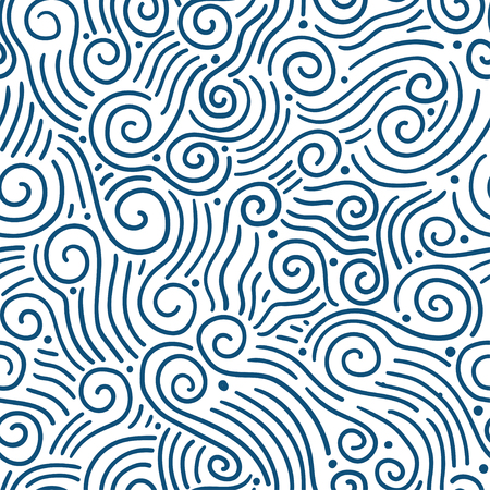 sea weeds: Hand-drawn aves seamless pattern. Can be used for wallpaper, pattern fills, web page background,surface textures. Adult Coloring. Gorgeous seamless wave background