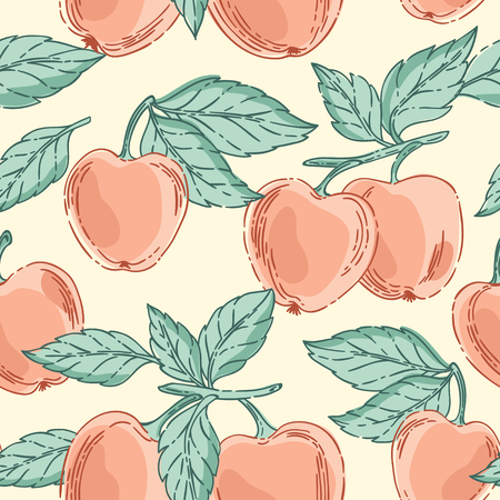 red apples: Vector seamless pattern with red apples and green leaves Illustration