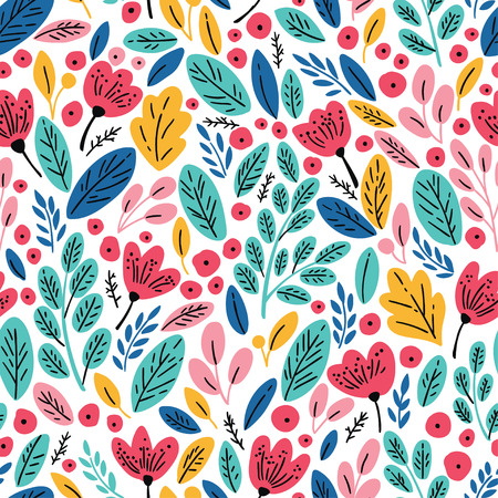 Seamless pattern with autumn leaves and flowers Vectores