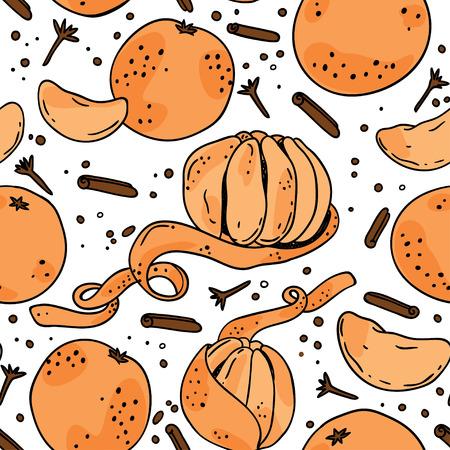 Seamless pattern with mandarin. Vector illustration Illustration