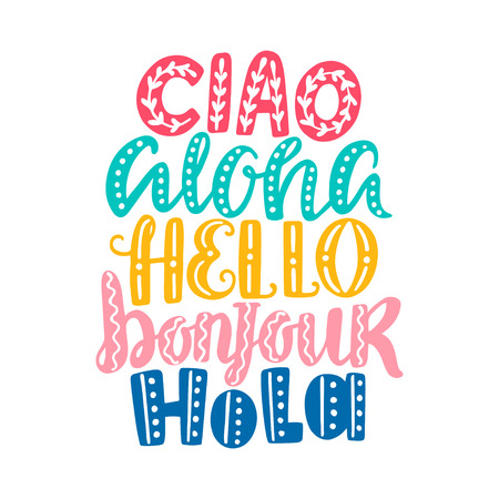 bonjour: Hello in different languages Illustration