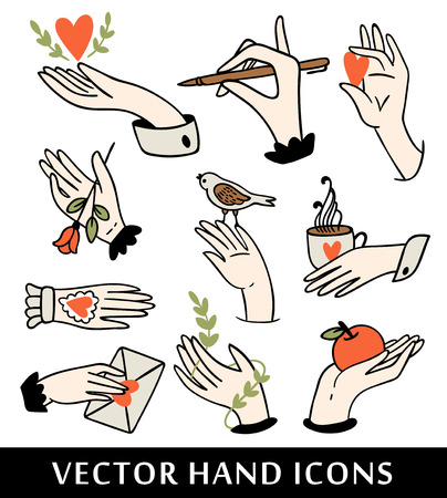 hand hold: Hand icons collection Illustration