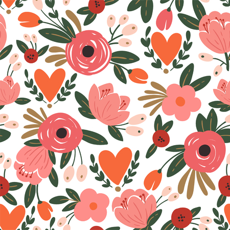 Nahtloses Rosen- und Herzmuster der Schönheit