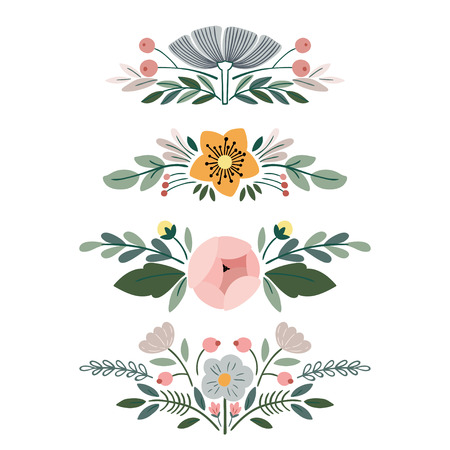 Vector set with vintage flower bouquets