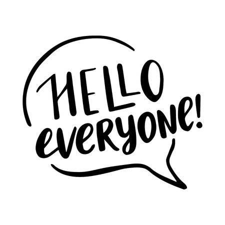 Hola a todos letras Ilustración de vector