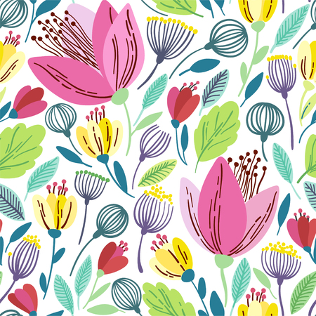 textiles: Vector floral pattern in doodle style with pink flowers and leaves.