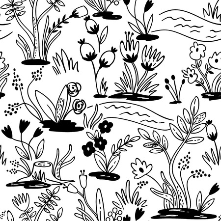 pattern: Seamless hand-drawn pattern with flowers. Seamless pattern can be used for wallpaper, pattern fills, web page background.