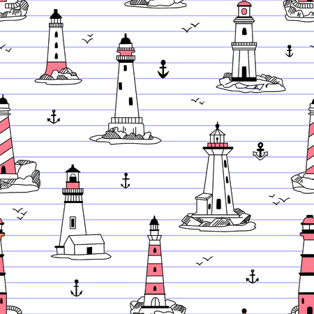 Vector lighthouses seamless pattern