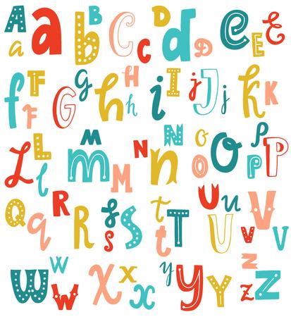 귀여운 영어 손을 알파벳, 빈티지 벡터 글꼴을 작성합니다. 소문자 및 대문자, 카드, 레터링, 포스터에 적합