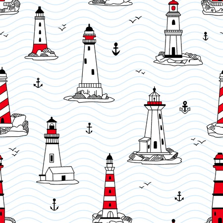 security symbol: Vector lighthouses seamless pattern