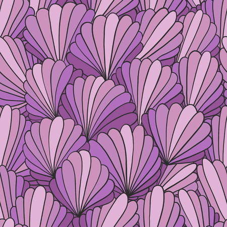 Seamless pattern background with abstract shell ornaments. Hand drawn illustration