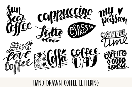 hand print: Coffee vector lettering icons set. Motivational quote. Inspirational typography.