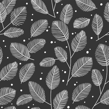 Hand drawn seamless pattern with decorative leaves. Autumn vector illustration.