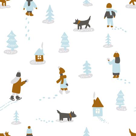 Hand gezeichnete Vektorspaß-Winterzeitillustration. Nahtlose Muster mit Menschen, Hunde, Bäume und Häuser