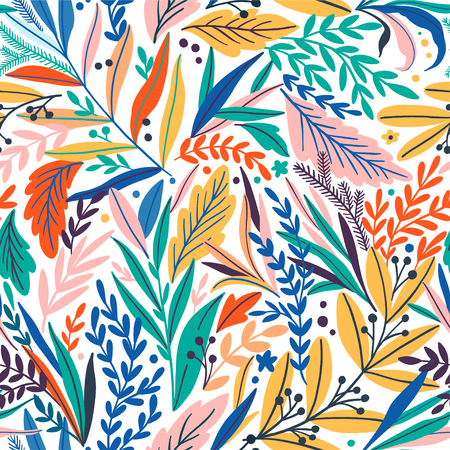 Tropical seamless leaves pattern vector illustration. Фото со стока - 95580959