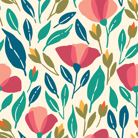 Wildflowers seamless pattern. Vector poppies illustration with pink flowers