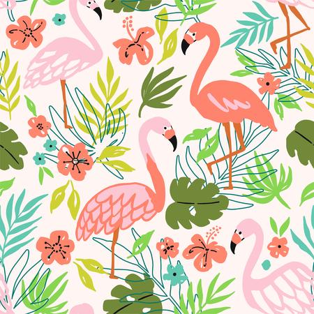 Flamingo Bird and Tropical Flowers Background. Seamless pattern vector Ilustração
