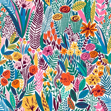 Bright tropical leaf seamless pattern. Vector illustration Illustration