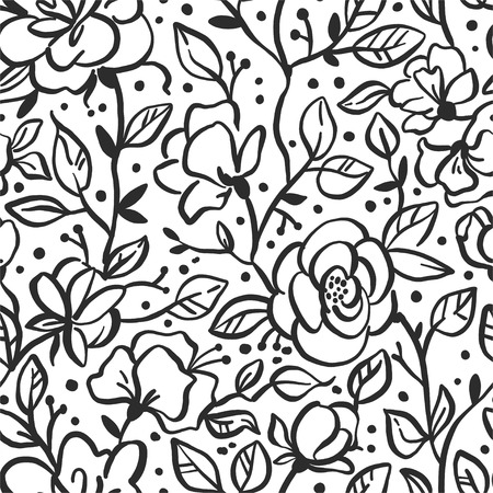 Vector flower seamless pattern with roses. Textures made with black ink. Hand brush painting for your designs: logo, for posters, invitations, cards, etc.