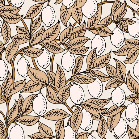 Vektornahtloses Muster mit Zitronen Vektorgrafik