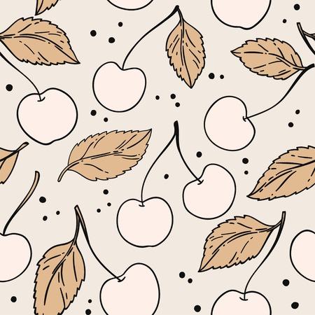 Seamless pattern with cherry. Vector illustration. Illustration