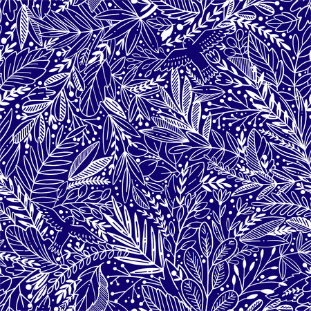 Vector floral seamless pattern with exotic leaves and birds Illustration