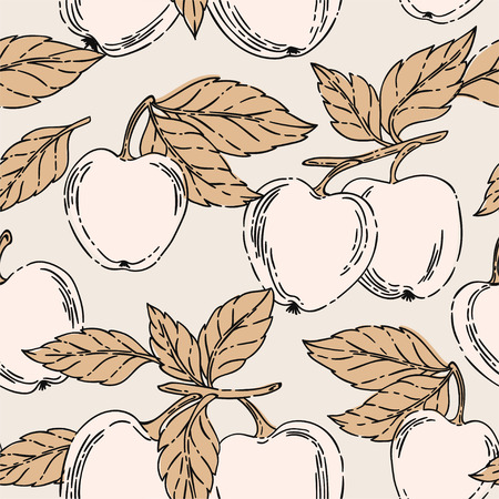 Vector seamless pattern with apples and leaves on a pink background.