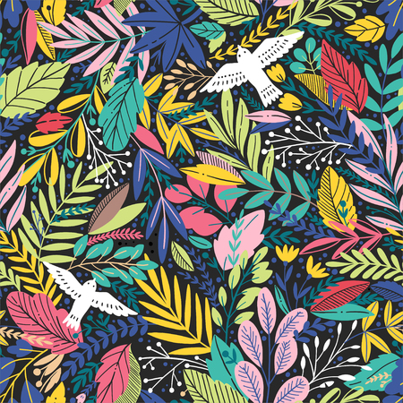 Vector colorful floral seamless pattern with exotic leaves and birds Illustration