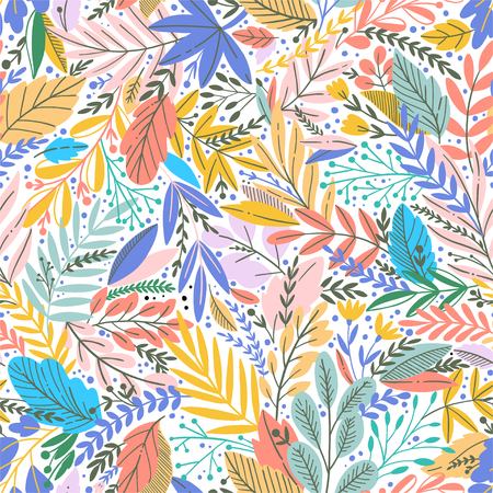 Vector colorful floral seamless pattern with exotic leaves