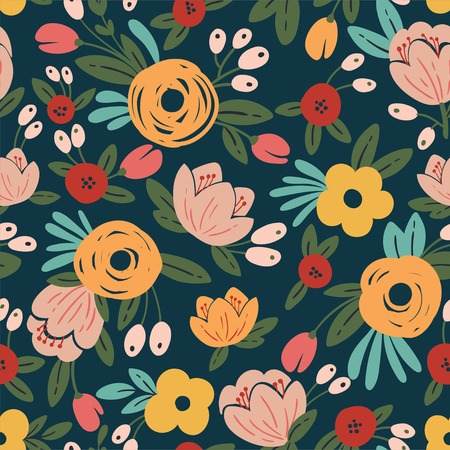 Seamless floral background with bouquets of roses. Vintage pattern for wallpaper, fabric, digital paper