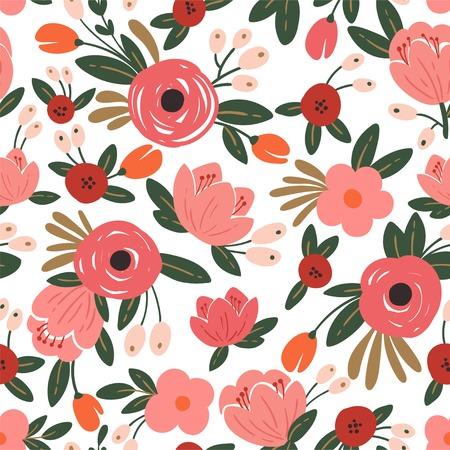 Nahtloser Blumenhintergrund mit Rosensträußen. Weinlesemuster für Tapete, Stoff, digitales Papier
