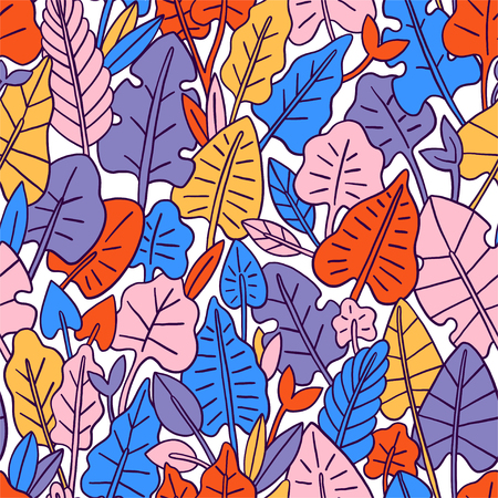 Leaves seamless pattern. Graphic design with amazing leaf. Vector illustration