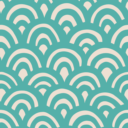 Seamless hand drawn waves pattern