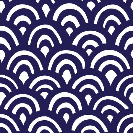 Seamless hand drawn waves pattern. Japanese background Ilustrace