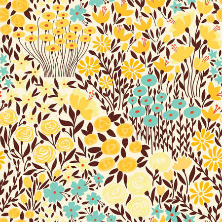Cute seamless floral pattern with small flower. Creative floral texture. Vector Illustration