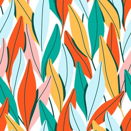 Vector seamless pattern with branches and leaves. Illustration